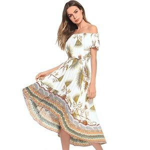 High Low Flora Print OffShoulder Ruffle Boho Dress